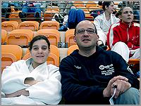 A judoca Carla Vaz com o treinador DavidCarreira