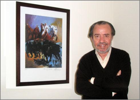 Adérito Tavares com pintura de Alcínio