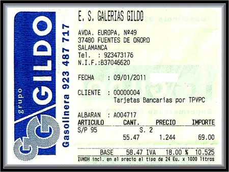 Gasoleira GALP nas Galerias Gildo - Fuentes de Oñoro - Janeiro 2011