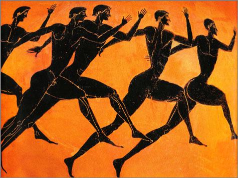 Prova de corrida nos Jogos Olímpicos antigos. Pintura de um vaso de cerâmica ateniense (séc. V a. C.)