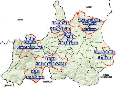 Concelho do Sabugal - Reforma das Freguesias - 2012 - Mapa Blogue Capeia Arraiana